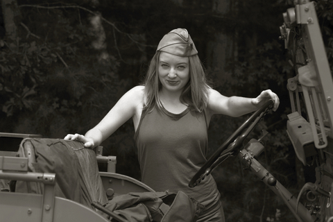 Army Jill pauses by the 42 Ford GPW