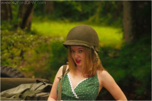 Army Jill wears a helmet.