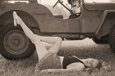 Army Jill and the WW2 jeep.