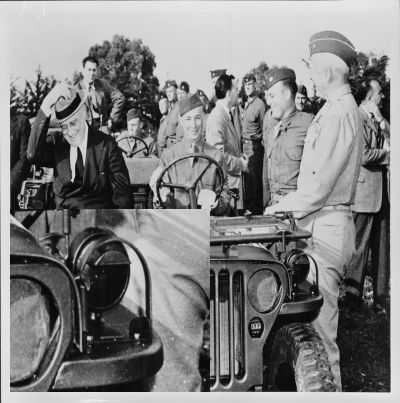 President Roosevelt in WW2 jeep with blackout headlight