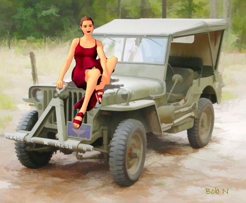 A girl and a WW2 Ford GPW (jeep)