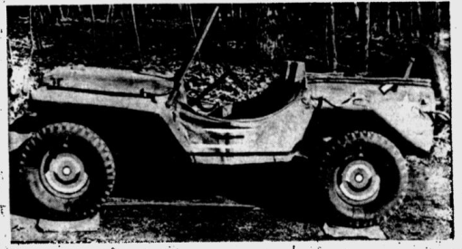Synthetic Jeeps-Here's a jeep you simply blow up like you do a tire. It doesn't go anywhere of course, but it is designed to deceive at distances up to 500 feet. Pneumatic jeep, high fidelity model, is one of many used as decoys during war. Tanks and guns were also mode of rubber for purposes of subterfuge (Signal Corps Photo from Acme) St Petersburg Times - 21 Dec 1945.