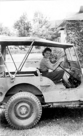 Edna in the jeep borrowed by her husband.